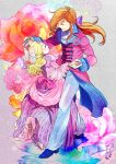 1girl blonde_hair bow brown_hair closed_eyes couple dancing dress eyes_closed flower g_gundam george_de_sand gloves gundam hand_holding holding_hands isi88 long_hair maria_louise ribbon rose smile