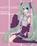 1girl absurdres blue_eyes boots character_name detached_sleeves green_hair hatsune_miku highres long_hair necktie sayo25 single_thighhigh sitting skirt sleeves_past_wrists solo thigh-highs thigh_boots twintails very_long_hair vocaloid wariza