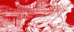 bamboo bow cosmic_(crownclowncosmic) door east_asian_architecture eientei fujiwara_no_mokou grass hair_bow highres long_hair monochrome profile red ribbon rock shirt solo suspenders touhou very_long_hair