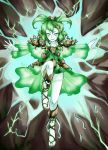 1girl alternate_costume electricity genderswap green_eyes green_hair highres league_of_legends nam_(valckiry) personification short_hair skirt slippers solo xerath