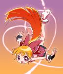fingerless_gloves flying gloves hair_ribbon hajime_(caramel_toone) heart hyper_blossom long_hair orange_hair ponytail powerpuff_girls_z red_ribbon ribbon solo