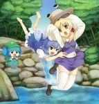 barefoot blonde_hair blue_door blue_eyes blue_hair chibi cirno eating flat_gaze glomp green_eyes hair_ribbon hat hat_removed headwear_removed hug kawashiro_nitori moriya_suwako multiple_girls nature ribbon river rock short_hair tackle teardrop tears thigh-highs thighhighs touhou water waterfall wings zettai_ryouiki