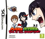 3girls black_hair blue_eyes brown_eyes brown_hair cover dog guts_(kill_la_kill) kill_la_kill kiryuuin_satsuki mankanshoku_mako matoi_ryuuko multicolored_hair multiple_girls nintendo_3ds parody redhead setz super_mario_bros.