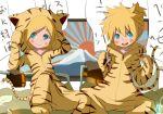 animal_ears aqua_eyes blonde_hair costume hair_ornament hairclip itaru kagamine_len kagamine_rin new_year short_hair siblings smile tail tiger_costume tiger_ears tiger_print tiger_tail twins vocaloid