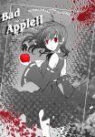 akasaka_sakasu apple bad_apple!! bare_shoulders bow detached_sleeves food fruit hair_bow hakurei_reimu long_hair monochrome red_eyes solo spot_color touhou