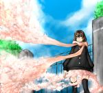 absurdres brown_hair cherry_blossoms eiji_(eiji) gate highres original petals scarf skirt solo thigh-highs thighhighs zettai_ryouiki