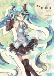 aqua_eyes aqua_hair detached_sleeves green_eyes green_hair hatsune_miku headphones long_hair necktie robosuke skirt smile solo thigh-highs thighhighs twintails very_long_hair vocaloid zettai_ryouiki