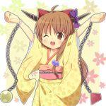 ahoge amaa_(chou_dennou_jidai) arms_up bad_id blush_stickers bow chain chains hair_bow horn_ribbon horns ibuki_suika japanese_clothes kimono ribbon solo touhou wink