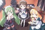 black_legwear blonde_hair blush bow brown_eyes brown_hair cake elbow_gloves food gloves green_eyes green_hair hagiwara_yukiho hair_ornament hairclip hatsune_miku idolmaster indoors kana_anaberal long_hair maid maid_headdress mary_janes morujii multiple_girls necktie open_mouth pastry plate shoes short_hair smile thigh-highs thighhighs touhou touhou_(pc-98) twintails vocaloid waitress white_legwear wink yellow_eyes zettai_ryouiki