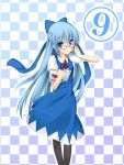 adult alternate_hairstyle bad_id bespectacled blue_eyes blue_hair book bow cirno glasses hair_bow kepon long_hair pantyhose touhou very_long_hair ⑨