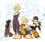 6boys :d age_progression all_fours armor black_hair blonde_hair boots cape crossed_arms dragon_ball dragon_ball_(object) dragon_ball_z dragonball_z dual_persona gloves kneeling looking_up monkey_tail multiple_boys multiple_persona nikayu open_mouth shoes sitting smile son_gohan spiked_hair standing super_saiyan tail time_paradox zoom_layer