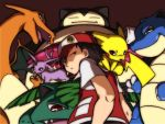 baseball_cap black_hair blastoise charizard espeon hat nagi_(exsit00) pikachu pokemon pokemon_(game) pokemon_gsc red_(pokemon) red_(pokemon)_(classic) serious snorlax venusaur