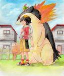 1boy backpack bag baseball_cap black_hair gold_(pokemon) hat highres house nagi_(exsit00) natu pokemon pokemon_(creature) pokemon_(game) pokemon_gsc shorts typhlosion
