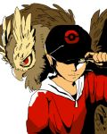 baseball_cap black_hair gold_(pokemon) hat holding noctowl pokemon pokemon_(game) pokemon_gsc torigarasi yellow_eyes
