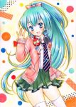 1girl aqua_eyes aqua_hair hatsune_miku headphones headphones_around_neck long_hair marker_(medium) my_(mylilla811) necktie open_mouth pastel_(medium) ponytail solo thigh-highs traditional_media very_long_hair vocaloid watercolor_pencil_(medium)
