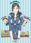 1girl 2girls blue_eyes blush breasts brown_hair character_request chibi chibi_inset chris_redfield cleavage embarrassed g-room_honten interlocked_fingers jessica_sherawat jill_valentine long_hair multiple_girls partially_translated ponytail resident_evil resident_evil_revelations short_sleeves thumbs_up translation_request watch wristwatch