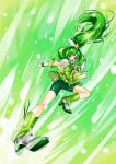 1girl bike_shorts bow breasts cure_march dress green_eyes green_hair high_heels highres inazuma_kick kicking long_hair magical_girl midorikawa_nao nty-in-the-house ponytail precure shoes shorts_under_skirt skirt smile_precure! solo tiara tri_tails
