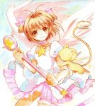 barihian brown_hair card_captor_sakura cardcaptor_sakura child colored_pencil_(medium) dress feathered_wings green_eyes highres hoshi_no_tsue kero kinomoto_sakura leg_garter short_hair traditional_media wand wings