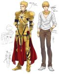 armor blonde_hair bracelet casual character_sheet dual_persona earrings fate/zero fate_(series) gilgamesh hair_down hair_up jewelry k29 male necklace red_eyes v-neck
