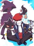 1boy banette boy duskull hat kouki_(pokemon) mightyena mismagius nozomu144 pokemon pokemon_(creature) pokemon_(game) pokemon_dppt rotom scarf sitting smile umbreon winter_clothes
