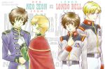 3boys audrey_burne banagher_links blonde_hair blue_eyes brown_eyes brown_hair cape dual_persona earth_federation green_eyes gundam gundam_unicorn logo military military_uniform multiple_boys orange_hair redpipin riddhe_marcenas toggles uniform zeon