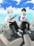 2boys beach blue_eyes brown_hair clouds electric_guitar grey_hair guitar hosaka_dx ikari_shinji instrument multiple_boys nagisa_kaworu neon_genesis_evangelion red_eyes sitting smile water