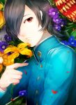 bad_id black_hair flower hair_over_one_eye kurosu_jun male persona persona_2 persona_4 red_eyes short_hair slee solo