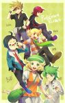 adjusting_glasses ahoge alternate_costume artist_name bag bel_(pokemon) beret black_hair blonde_hair brown_hair cheren_(pokemon) glasses green_eyes green_hair grey_eyes happy hat highres holding holding_poke_ball jewelry jun_(pokemon) mitsuru_(pokemon) multiple_boys necklace ookido_green ookido_green_(frlg) open_mouth orange_eyes poke_ball pokemon pokemon_(game) pokemon_bw pokemon_dppt pokemon_frlg pokemon_hgss pokemon_rse red_hair redhead reka scarf short_hair signature silver_(pokemon) silver_eyes skirt smile two-finger_salute v wink winter_clothes wristband