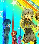 arisato_minato crossdressing hanamura_yousuke narukami_yuu pantyhose persona persona_1 persona_2 persona_3 persona_4 school_uniform shinai skirt sukeban suou_tatsuya sword toudou_naoya weapon