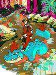 1boy backpack bag baseball_cap black_hair feraligatr fishing gold_(pokemon) hat natu nature plant pokemon pokemon_(game) pokemon_gsc river swimming tegaki tree yaichi