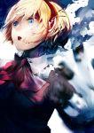 aegis android bad_id blonde_hair blue_eyes bow persona persona_3 ribbon school_uniform short_hair slee solo