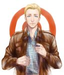 blonde_hair blue_eyes casual kanapy leather_jacket male marvel solo steve_rogers