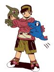 1boy baseball_cap black_hair gold_(pokemon) hat holding hug jumping larvitar pokemon pokemon_(game) pokemon_gsc tegaki totodile yaichi