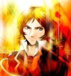 bad_id brown_eyes brown_hair fire male necktie persona persona_2 school_uniform short_hair sion_world solo suou_tatsuya
