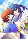 aqua_eyes blue_hair earrings hug jewelry keele_zeibel long_hair male multiple_boys petals ponytail purple_eyes red_hair redhead rid_hershel smile tales_of_(series) tales_of_eternia tsubasam violet_eyes