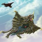 airplane alien beak bemstar claws cloud clouds flying highres horns igunuk jet kaette_kita_ultraman kaijuu mat_arrow-1 monster oldschool open_mouth realistic red_eyes science_fiction sharp_teeth sky tail ultra_series