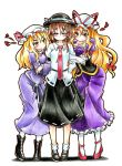 3girls =_= absurdres arm_hug blonde_hair blush boots corset cross-laced_footwear dress dress_shirt goku_(acoloredpencil) hair_ribbon hat highres long_hair maribel_hearn mary_janes multiple_girls necktie purple_dress ribbon shirt shoes short_hair skirt sweatdrop touhou usami_renko yakumo_yukari