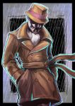 cravat dc_comics fedora hands_in_pockets hat inkblot male mask pants rain realistic rorschach scarf senkon solo standing trench_coat trenchcoat watchmen