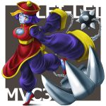 ball_and_chain blue_eyes blue_hair blue_skin blush blush_stickers breasts chinese_clothes claws cleavage cleavage_cutout hat jiangshi large_breasts lei_lei marvel_vs._capcom marvel_vs._capcom_3 ofuda pants shimusu short_hair solo spike_ball vampire_(game) yellow_eyes