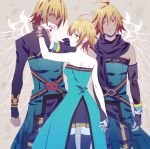 2boys ahoge aquarion_(series) aquarion_evol blonde_hair clover69exe coat cosplay emil_castagnier genderswap gloves green_eyes hand_kiss kisaragi_nazuna kiss multiple_boys parody red_eyes scarf short_hair skirt tales_of_(series) tales_of_symphonia tales_of_symphonia_knight_of_ratatosk