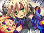 blonde_hair colored_eyelashes dual_persona emil_castagnier green_eyes male on_person purple_eyes selfcest smile takamiya_ren tales_of_(series) tales_of_symphonia tales_of_symphonia_knight_of_ratatosk violet_eyes
