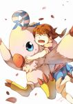beak bird biyomon blue_eyes brown_hair closed_eyes daimon_chika digimon digimon_savers eyes_closed highres open_mouth petals rw_(567173350) short_twintails skirt smile talons twintails