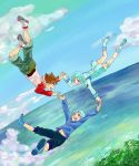 2boys aqua_hair brown_hair eureka eureka_seven eureka_seven_(series) eureka_seven_ao falling family fukai_ao hand_holding highres holding_hands multiple_boys purple_eyes renton_thurston short_hair time_paradox violet_eyes