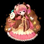 :d ;q blush_stickers brown_eyes charlotte_(madoka_magica) cup doughnut dress grandia_(artist) holding mahou_shoujo_madoka_magica open_mouth personification pink_hair saucer slice_of_cake smile teacup tongue twintails wink