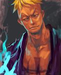 blonde_hair blue_eyes blue_fire dutch_angle fire jolly_roger lips looking_away male marco muscle one_piece open_clothes open_shirt pirate purple_shirt short_hair smile smirk solo tattoo tsuyomaru white_eyes