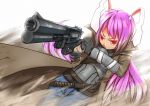 artist_request bunnygirl fallout gun long_hair parody purple_hair red_eyes reisen_udongein_inaba touhou weapon