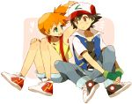 1girl baseball_cap black_hair brown_eyes child denim fingerless_gloves gloves green_eyes hat heart jacket kasumi_(pokemon) mochi730 no_socks orange_hair pokemon pokemon_(anime) satoshi_(pokemon) satoshi_(pokemon)_(classic) shoes short_hair shorts side_ponytail simple_background sitting sneakers suspenders