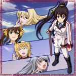 black_hair blonde_hair blue_eyes boots brown_hair cecilia_alcott charlotte_dunois closed_eyes cut-in engrish eyepatch eyes_closed finger_to_mouth from_above fukuro_ooji green_eyes grin hairband halftone halftone_background highres huang_lingyin infinite_stratos laura_bodewig long_hair multiple_girls open_mouth ponytail ranguage red_eyes school_uniform shinonono_houki silver_hair smile waving