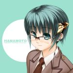:3 absurdres earbuds earphones glasses green_eyes green_hair highres horn_i_schwanz kurowashi necktie original over-rim_glasses semi-rimless_glasses short_hair solo