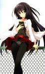 absurdres against_fence black_hair black_legwear blue_eyes bow bow_panties chainlink_fence fence flyable_heart hand_on_own_chest highres itou_noiji kimi_no_nagori_wa_shizuka_ni_yurete long_hair panties panties_over_pantyhose panties_under_pantyhose pantyhose parted_lips scan shirasagi_mayuri skirt skirt_lift solo underwear upskirt very_long_hair white_panties